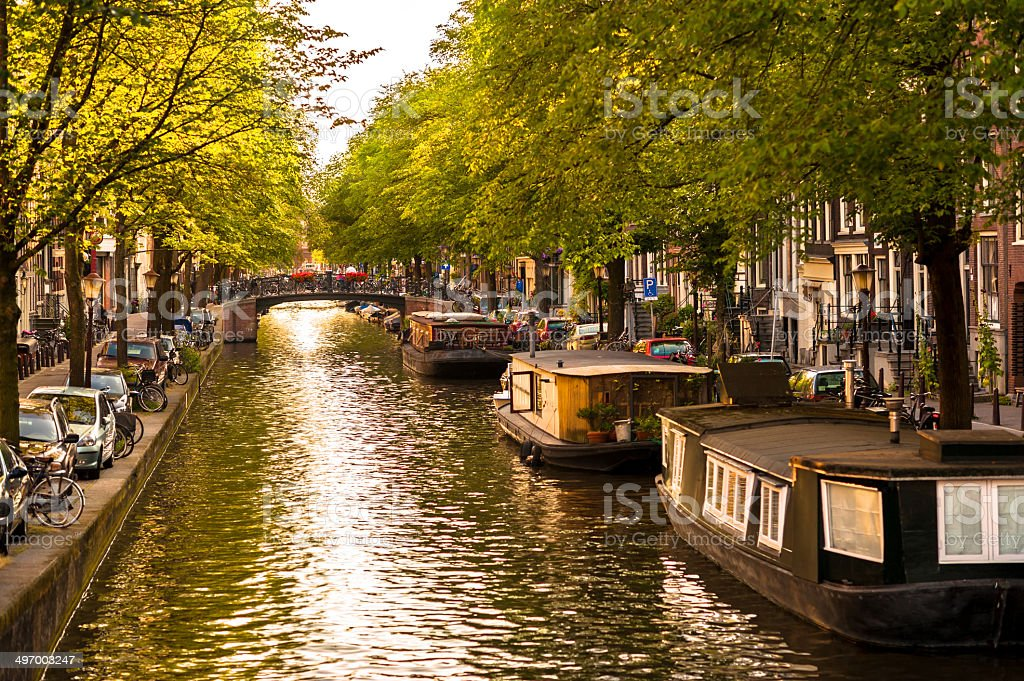 Houseboats on Amsterdam Canal stock photo