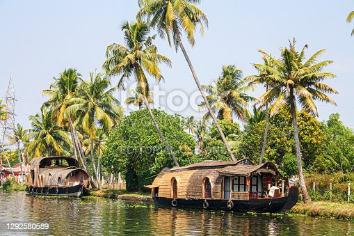 Allepey, India - January 30, 2011: Houseboats floating on the backwaters.of Allepey.