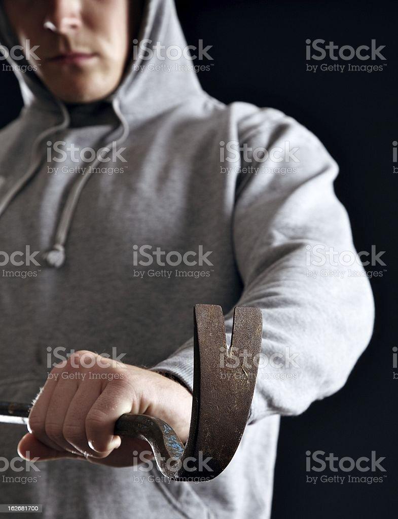 Housebreaker Doing His Crime stock photo