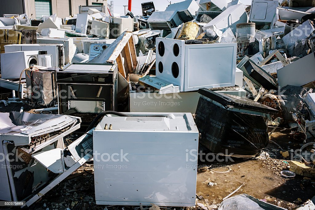 Household Appliance Dump in Yellowknife, NWT, Canada. stock photo