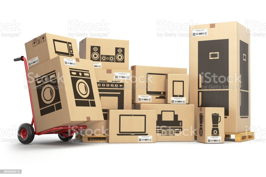 Household  appliances and home electronics in carboard boxes. stock photo