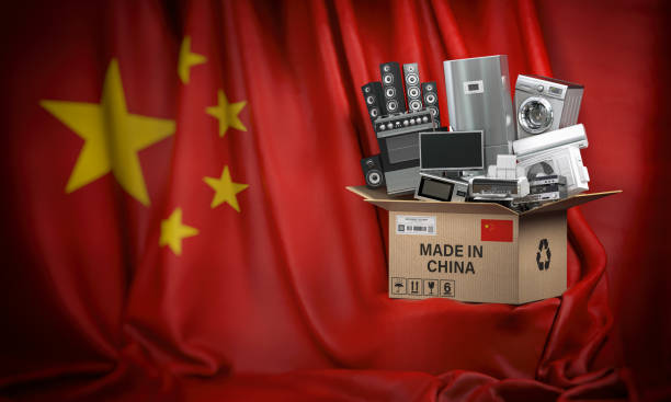 Household appliances made in China. Home kitchen technics in a cardboard box producted and delivered from China. stock photo