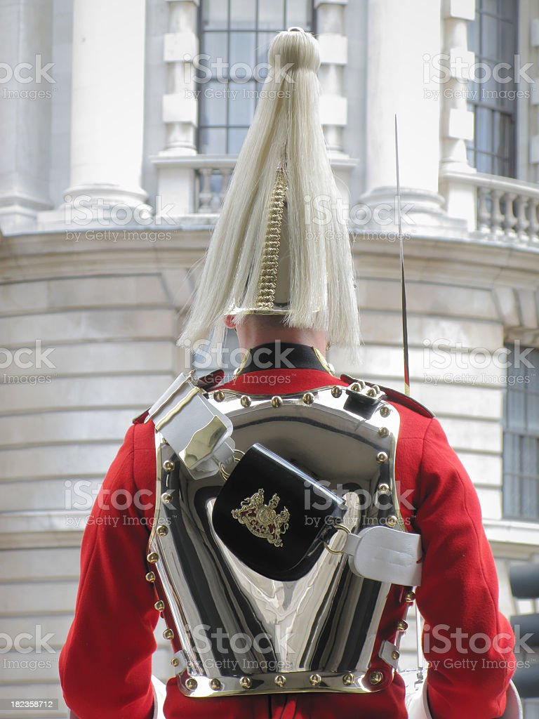 Household Cavalry  on sentry duty, rearview.. royalty-free stock photo