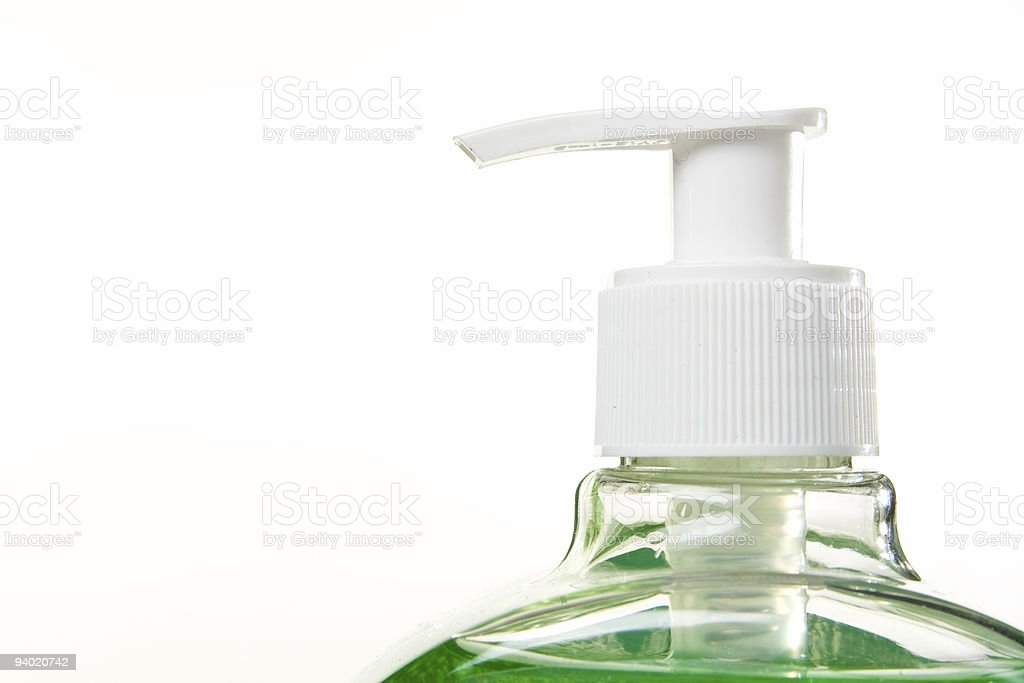 Household chemical bottle with pump nozzle, white background royalty-free stock photo