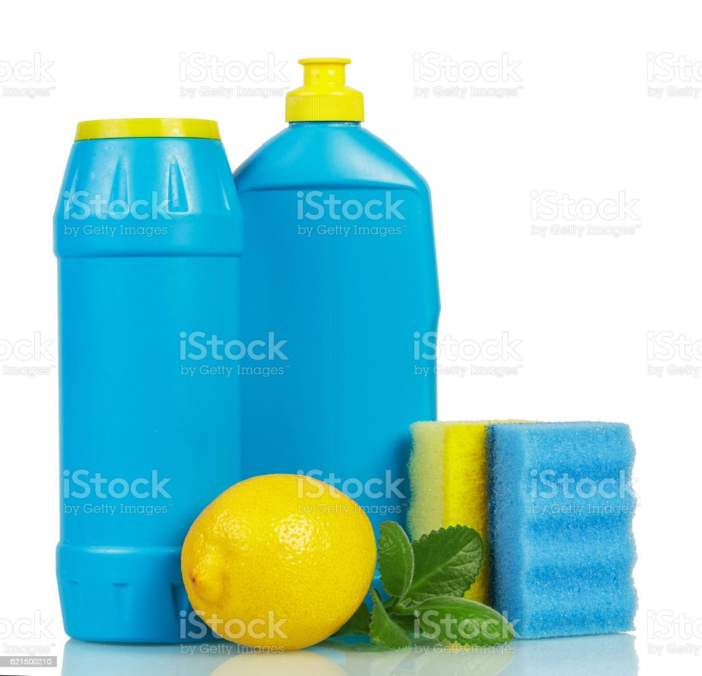 Household chemicals in bottles with scent lemon, mint, sponges isolated. Lizenzfreies stock-foto