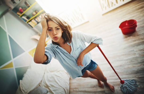 Household chores are exhausting. stock photo