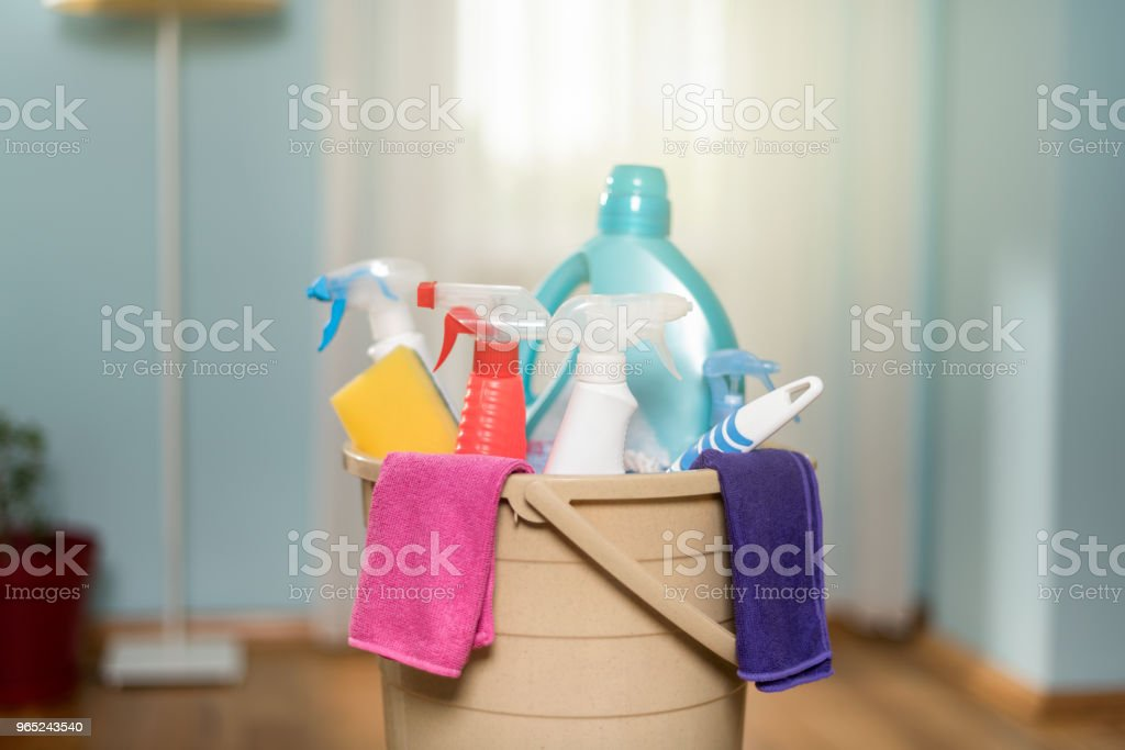 household cleaning materials royalty-free stock photo