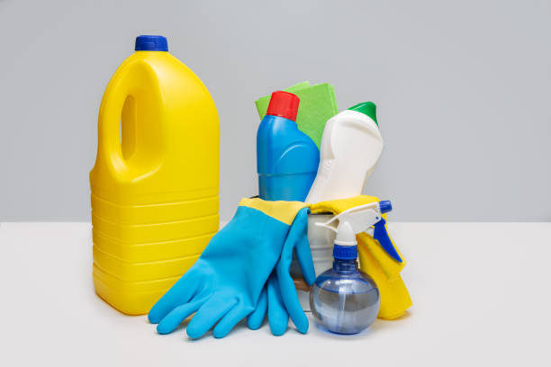 Household Cleaning Products. stock photo