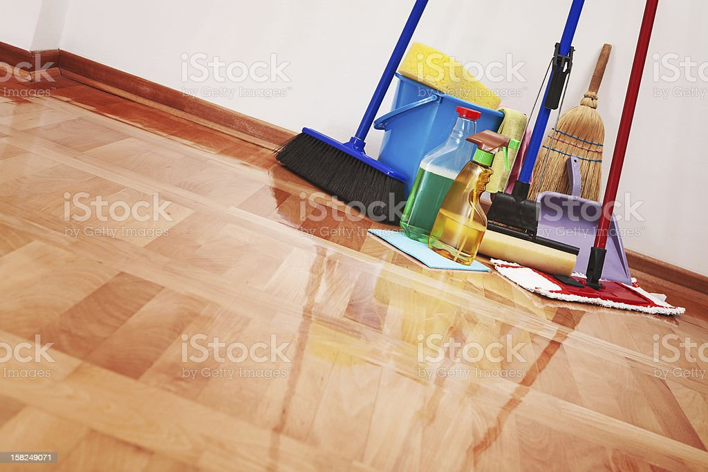Household cleaning supplies stock photo