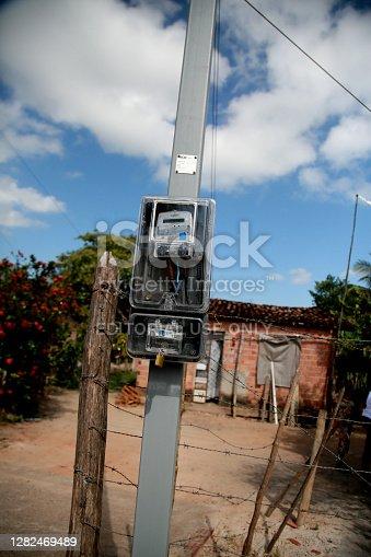 mata de sao joao, bahia / brazil - october 25, 2020: electricity meter is seen in a residence in the rural area of the city of Mata de Sao Joao.