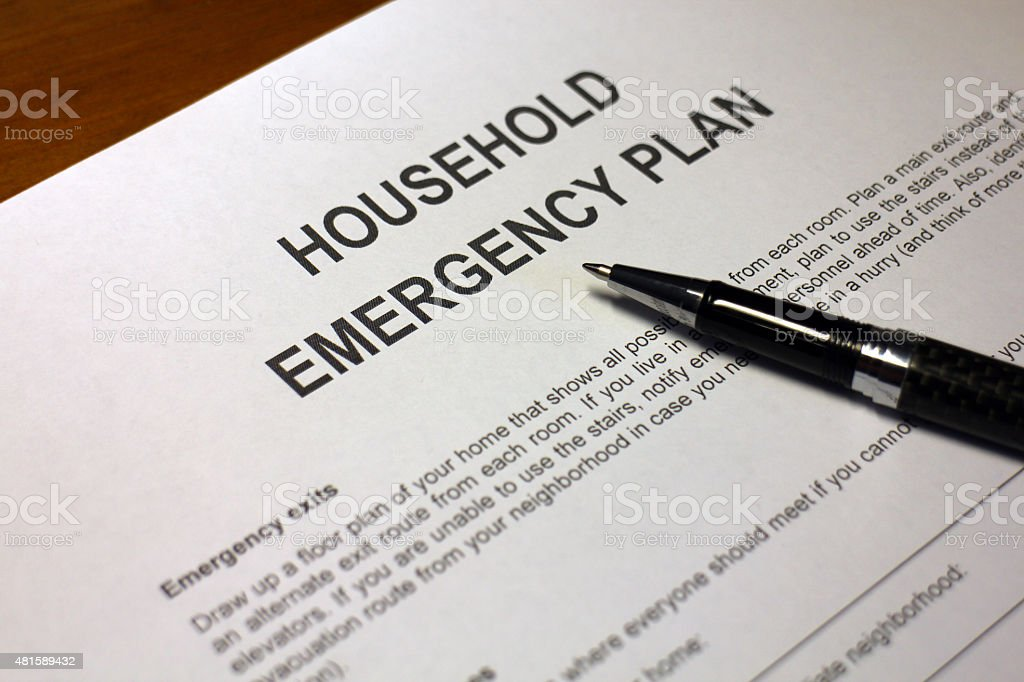 Household Emergency Planning stock photo