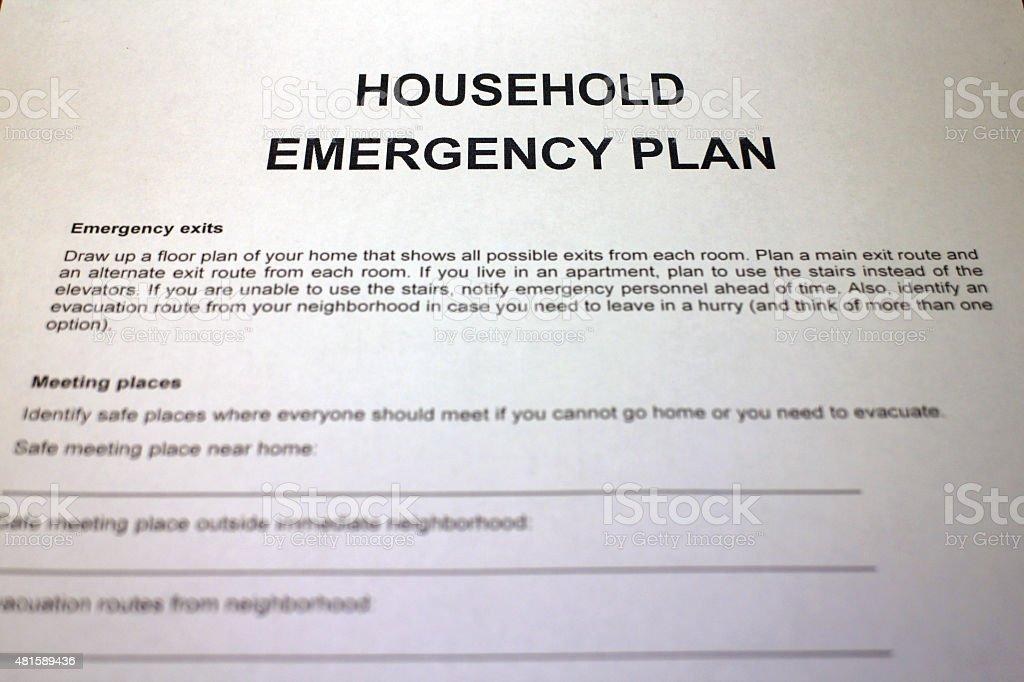 Household Emergency Preparedness Plan stock photo