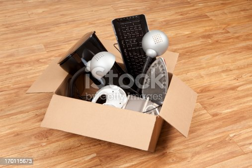 istock Household Equipment or Appliances in a Cardboard Box 170115673