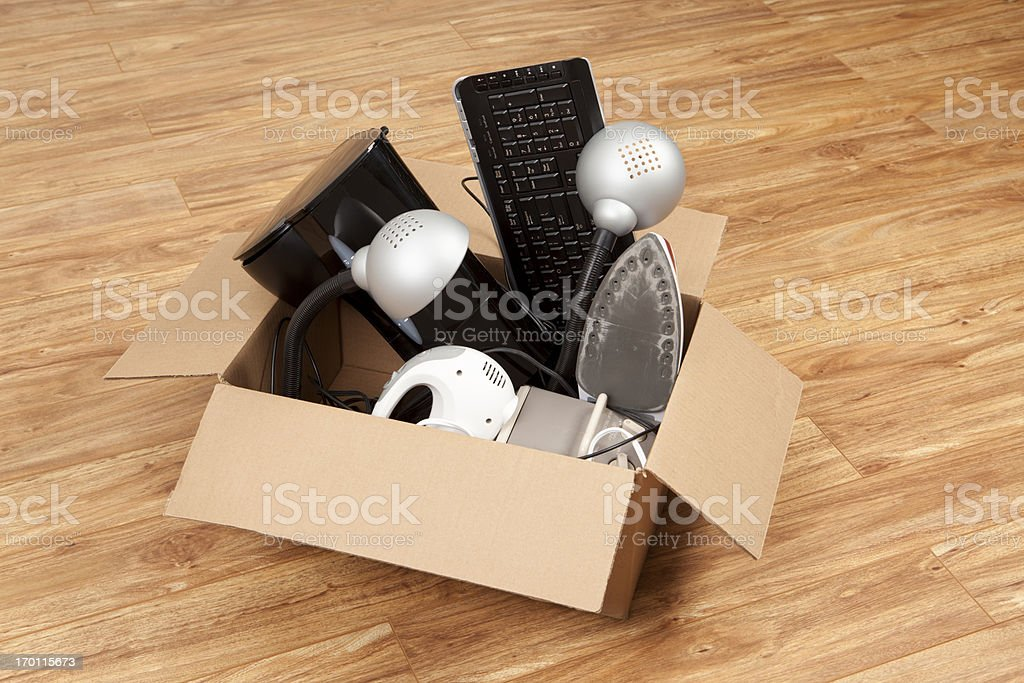 Household Equipment or Appliances in a Cardboard Box stock photo