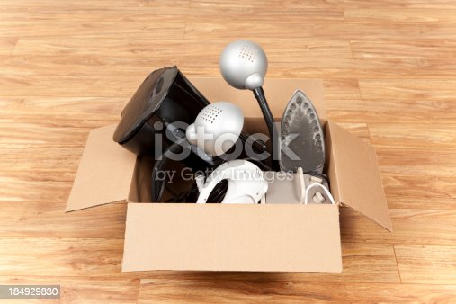 istock Household Equipment or Appliances in a Cardboard Box 184929830