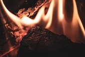 istock Household fire of peat briquettes 1296757046