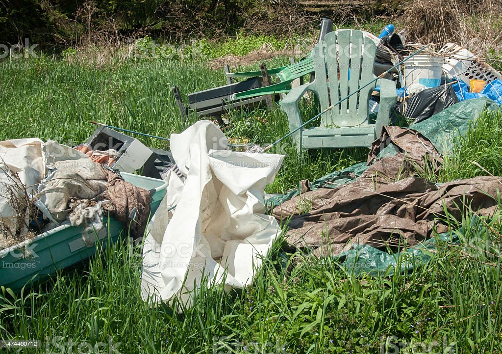 Household Garbage In The Yard stock photo