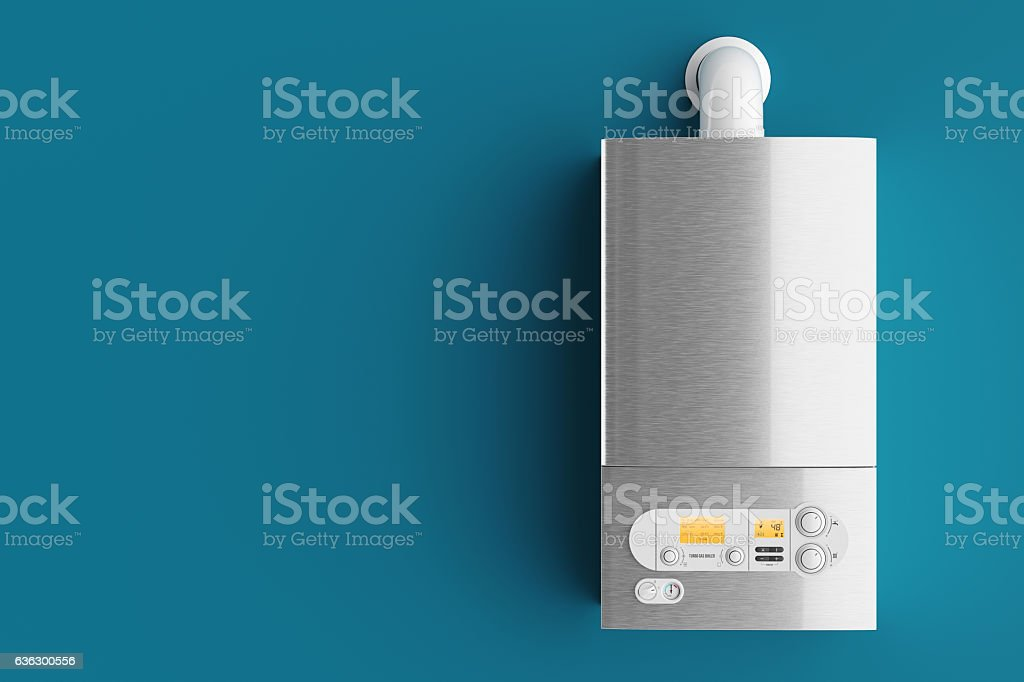 Household gas boiler on blue background 3d - Foto stock royalty-free di Acciaio
