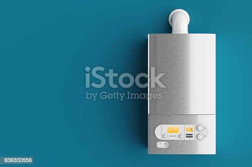 istock Household gas boiler on blue background 3d 636300556