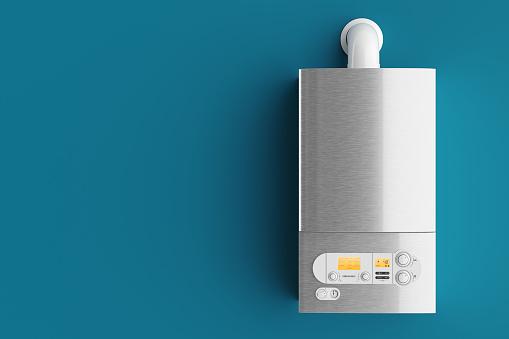 Household Gas Boiler On Blue Background 3d - Fotografie stock e altre immagini di Acciaio