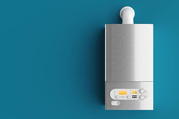 household gas boiler on blue background 3d - heißes wasser stock-fotos und bilder
