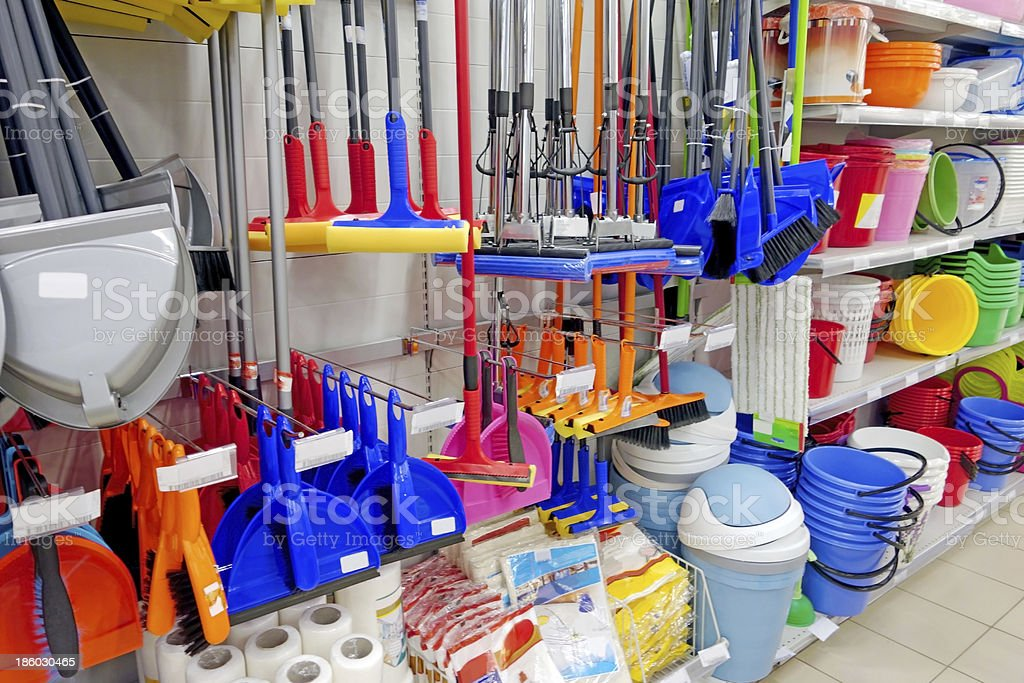 Household goods in store stock photo