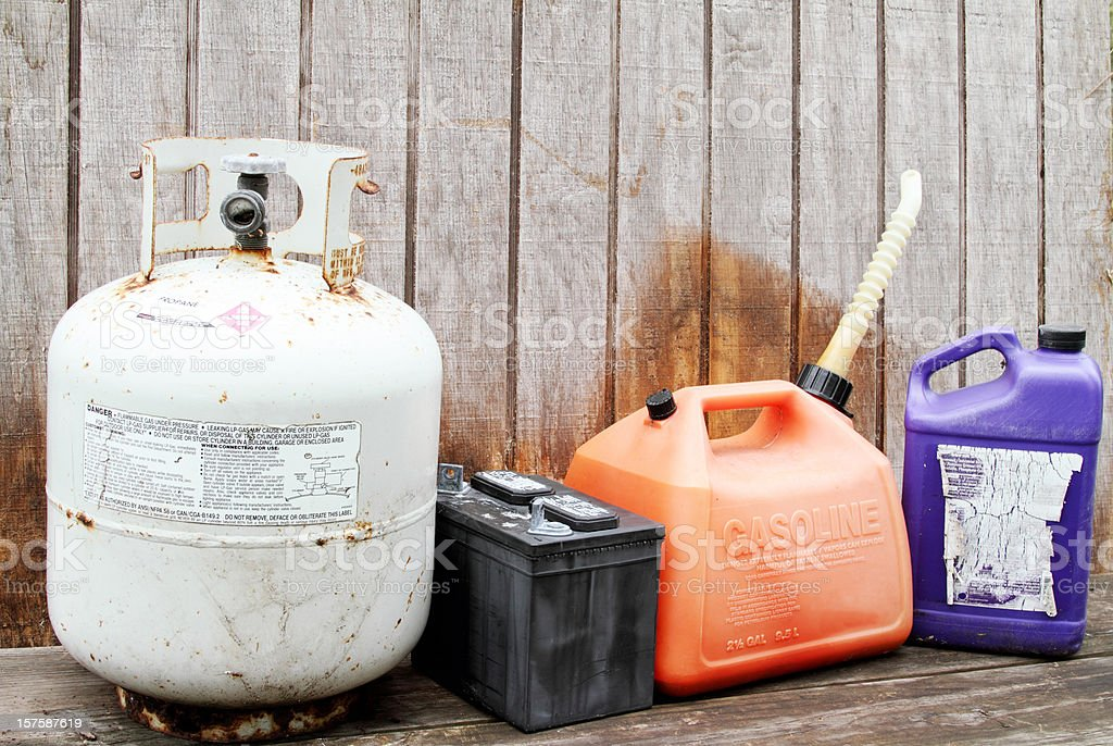 Household hazardous waste products and containers royalty-free stock photo