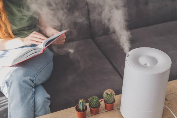 ソファで読む女性の近くのテーブルの上の自宅で家庭の加湿器 - 加湿器 ストックフォトと画像