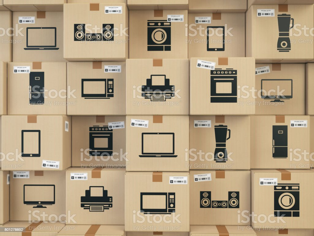 Household kitchen appliances and home electronics in boxes . E-commerce, internet online shopping and delivery concept. stock photo