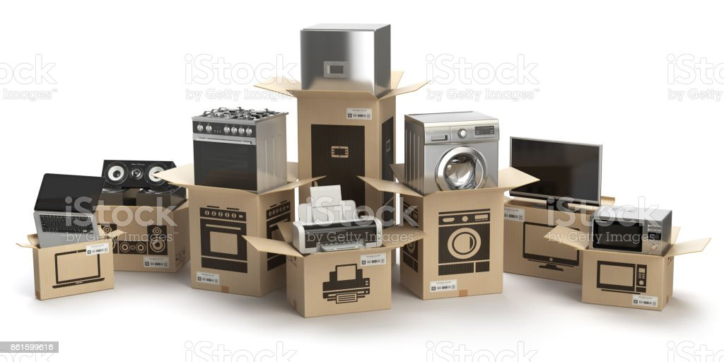 Household kitchen appliances and home electronics in boxes isolated on white. E-commerce, internet online shopping and delivery concept. stock photo