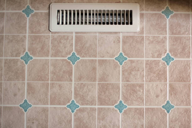 Household object - white colored air vent on linoleum floor Household object - white colored air vent on linoleum floor linoleum stock pictures, royalty-free photos & images