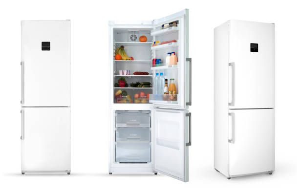household refrigerator on a white background modern household refrigerator with food, three angles, isolated. fridge stock pictures, royalty-free photos & images