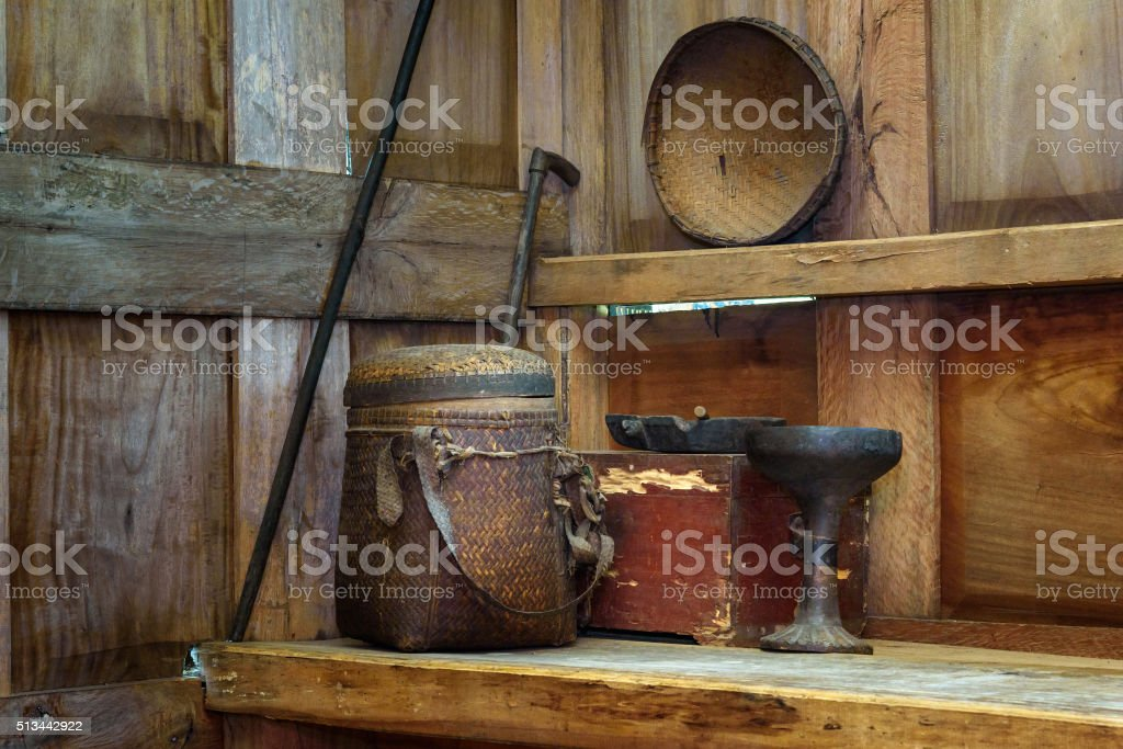 Household utensils at tongkonan traditional home stock photo