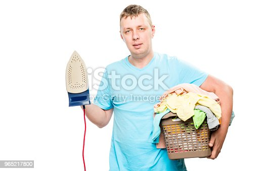 Householder With Iron And Basket Of Clean Linen On White Background Stock Photo & More Pictures of Adult