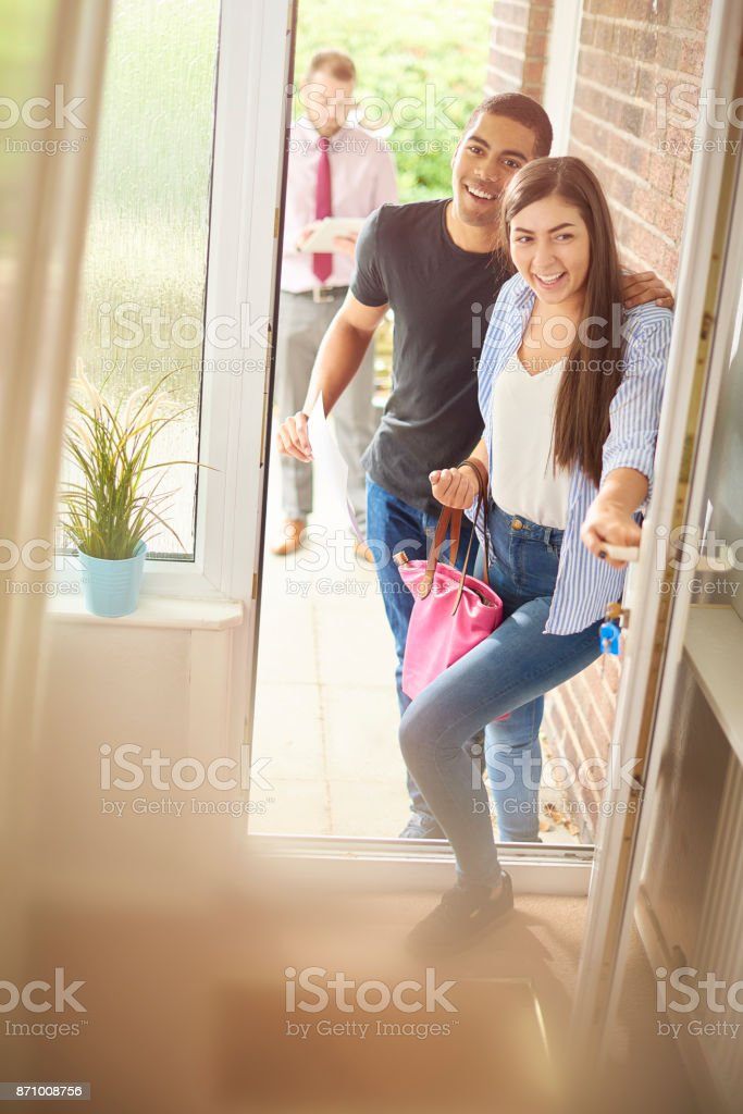 househunting young couple stock photo