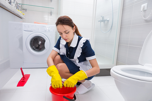 Housekeeper Cleaning A Bathroom Floor Stock Photo Download Image Now Istock