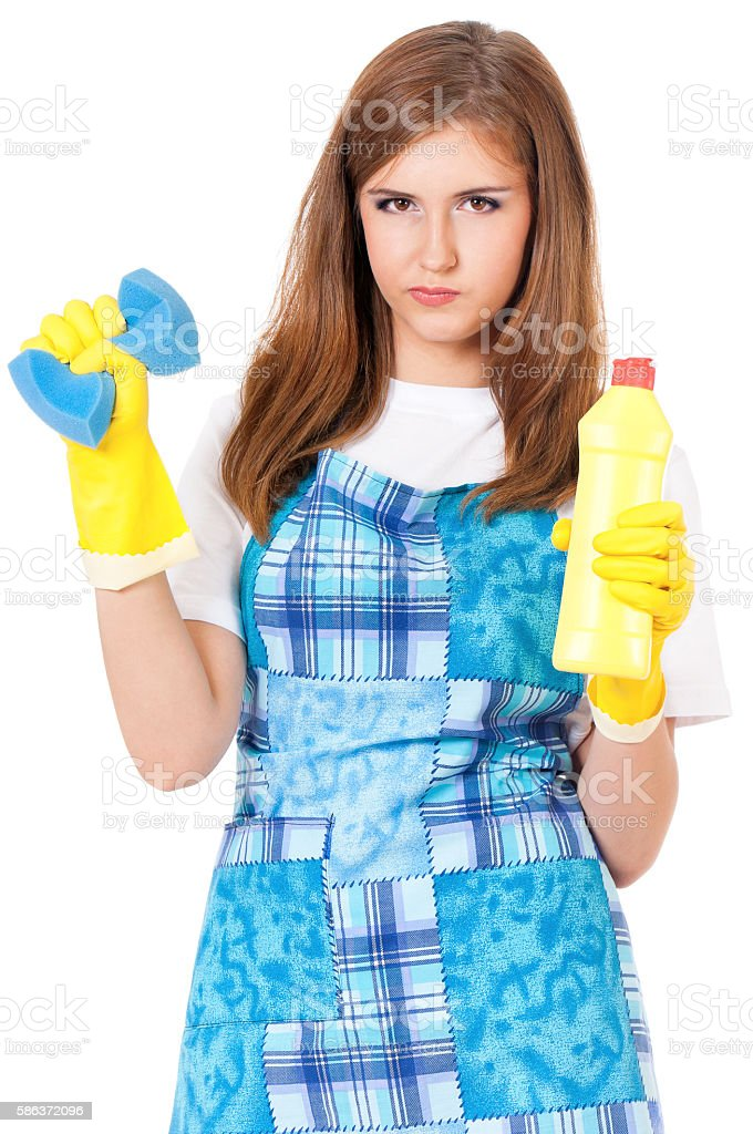 Housekeeper isolated portrait stock photo