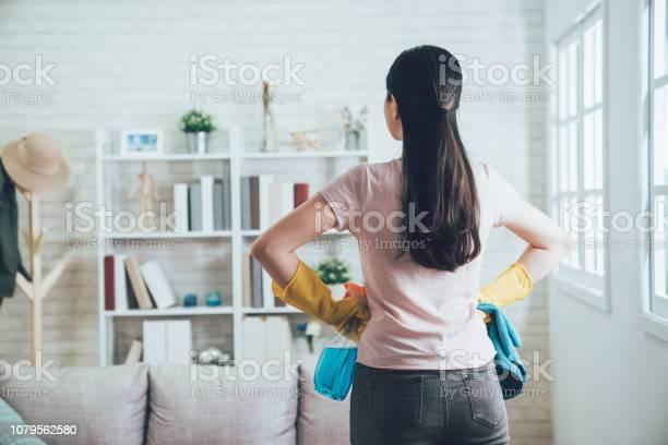 Huishoudster Te Kijken Naar De Schone Woonkamer Stockfoto en meer beelden van Afwashandschoen