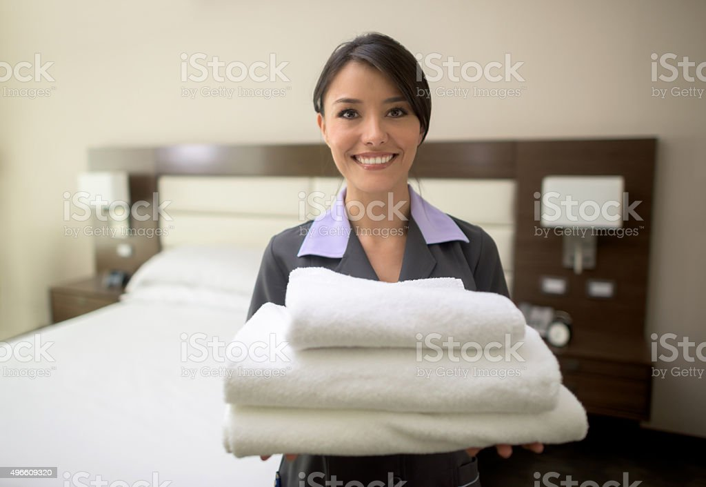 Housekeeping service at a hotel stock photo