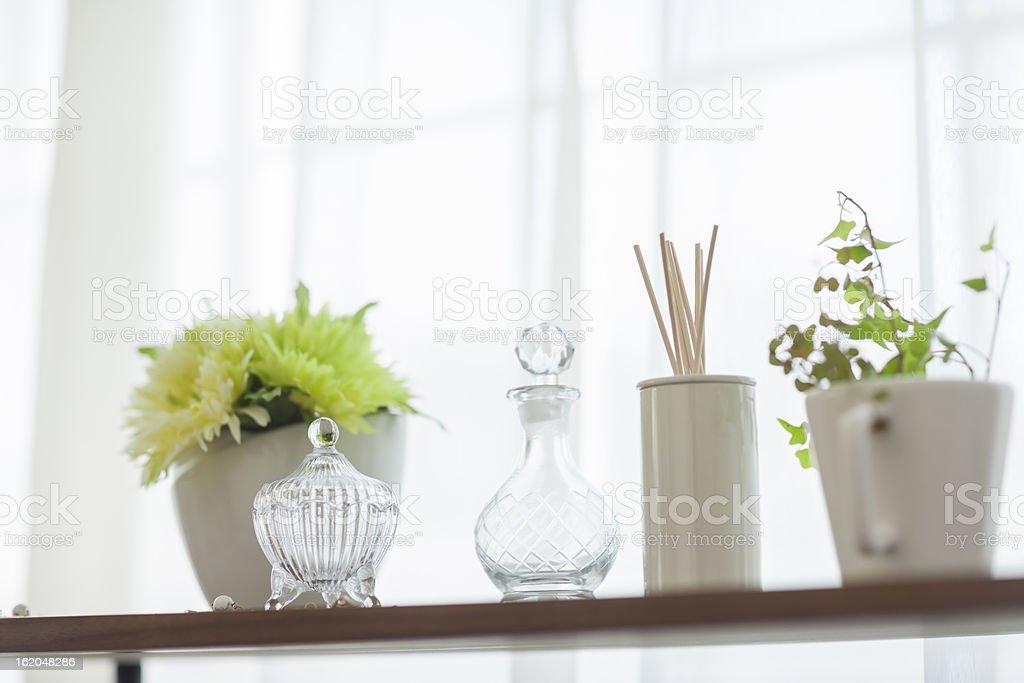 Houseplant and aroma stick stock photo