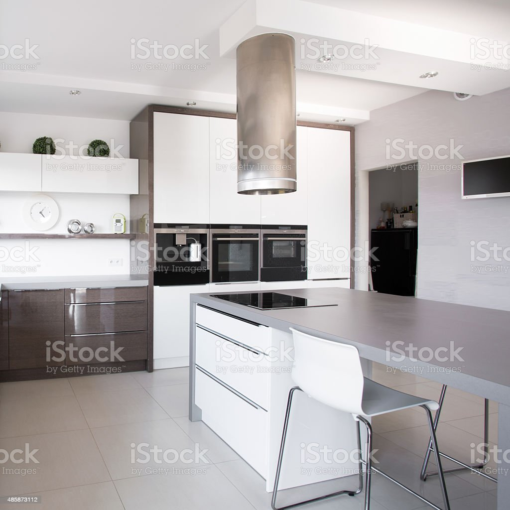 Houseplants in exclusive kitchen stock photo