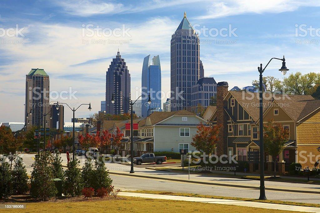 Houses against the midtown. Atlanta, GA. USA. stock photo