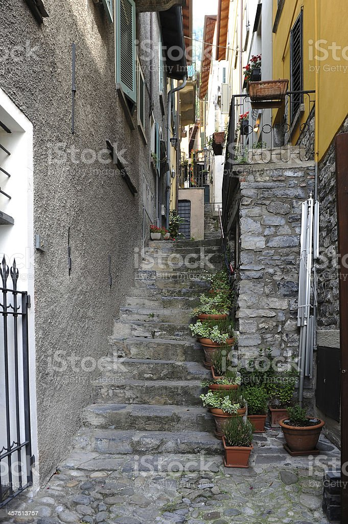Houses along a narrow street with steps stock photo
