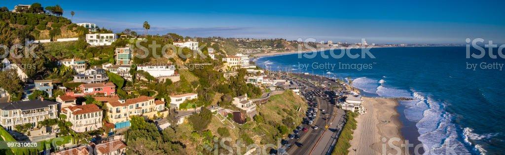 Houses and Beaches in Malibu, California - Aerial Panorama stock photo