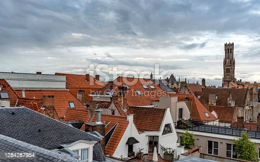 Houses and Belfry Bell Tower in Bruges, Belgium.