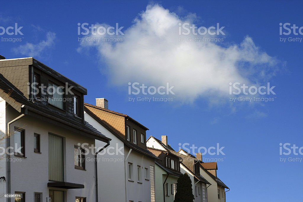 Houses and blue sky royalty-free stock photo
