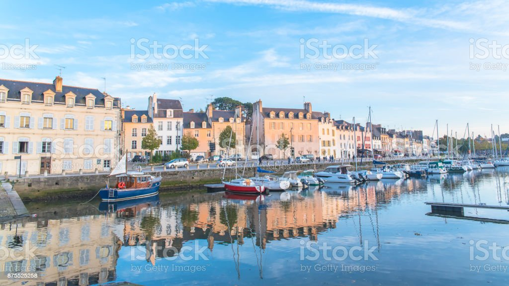 Houses and boats in the port of Vannes stock photo