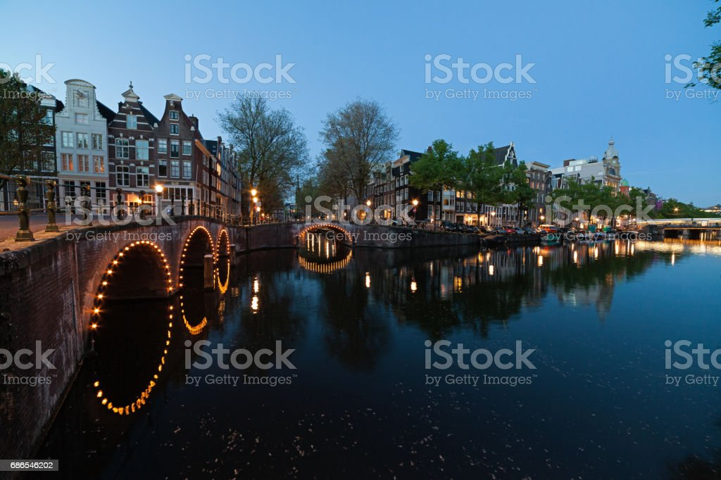 Houses and bridges on canals-Amsterdam- The Netherlands foto stock royalty-free