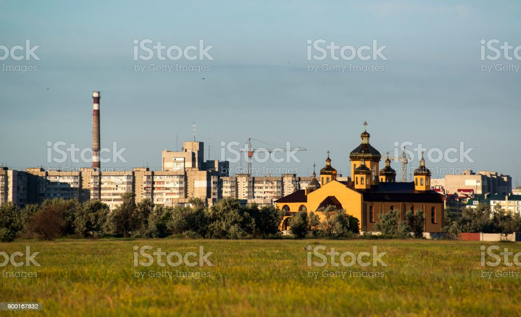 Houses and cathedral stock photo
