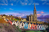 Houses and catherdral in Cobh, Ireland